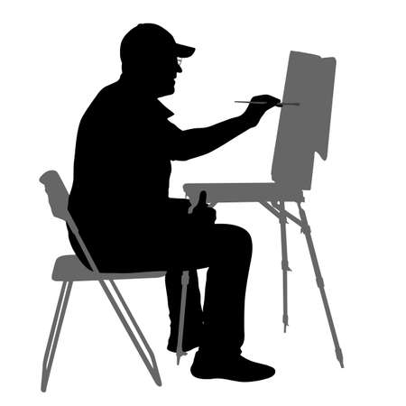 Silhouette, artist at work on a white background. Vektorové ilustrace