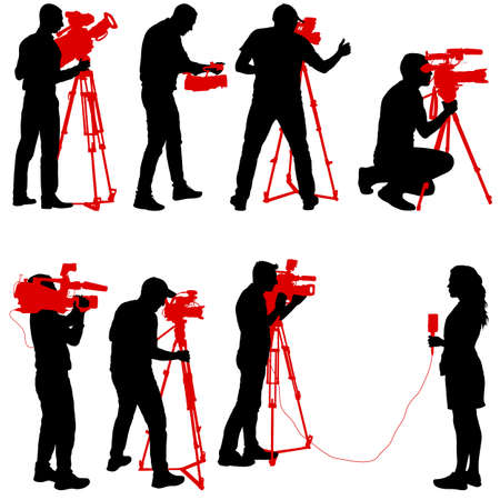 Set cameraman with video camera. Silhouettes on white background. Ilustracja