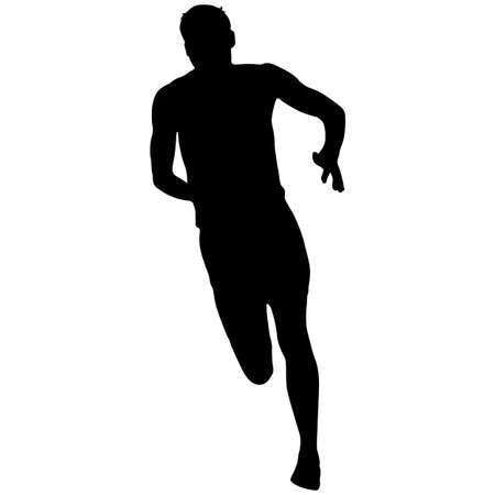 Sylwetki biegaczy sprint mężczyzn na białym tle.