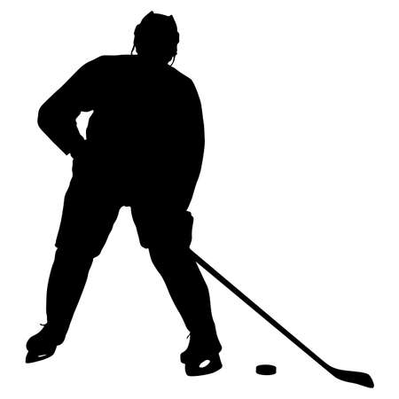 Silhouette of hockey player. Isolated on white. Çizim