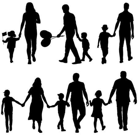 Ustaw sylwetkę szczęśliwej rodziny na białym tle. Ilustracje wektorowe