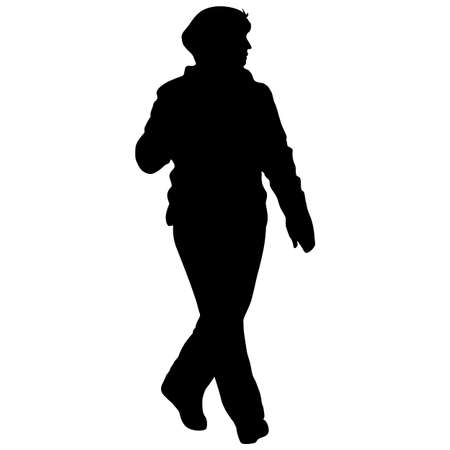 Silhouette woman standing, people on white background.