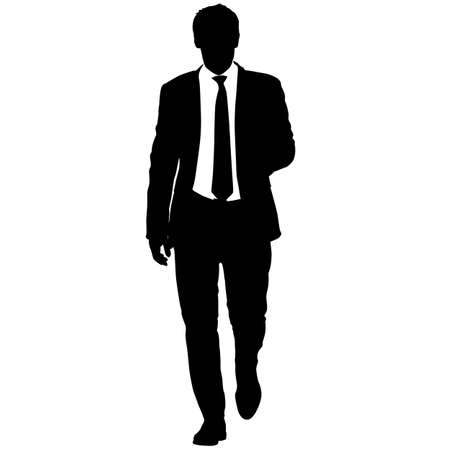 Silhouette Geschäftsmann Mann im Anzug mit Krawatte auf weißem Hintergrund.