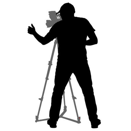 Cameraman with video camera. Silhouettes on white background.