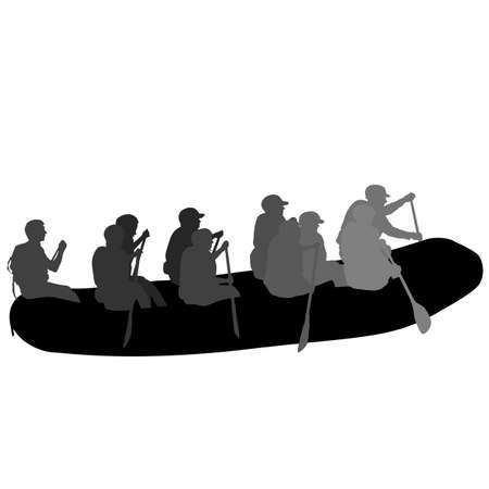Silhouette descent on a river water rafters on a white background.