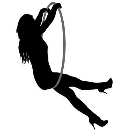 Silhouette Frau macht einige akrobatische Elemente Luftreifen auf weißem Hintergrund.