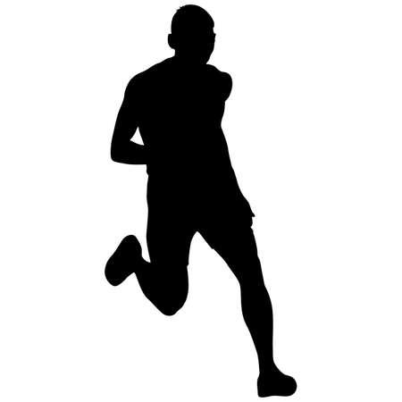 Silhouetten Läufer Sprint Männer auf weißem Hintergrund.