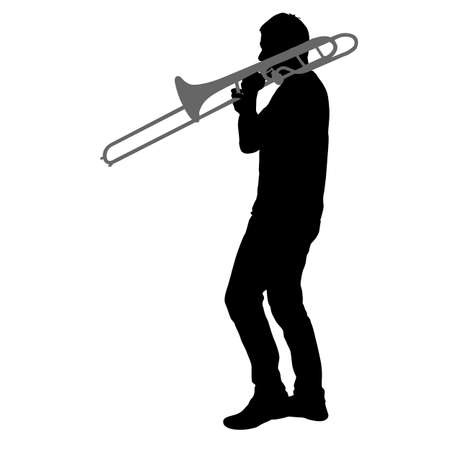 Silhouette of musician playing the trombone on a white background. 矢量图像