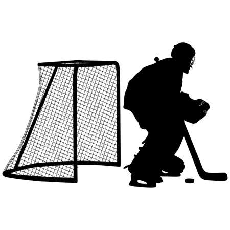 Silhouette of hockey goalkeeper on white background.