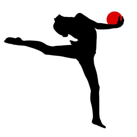 Sylwetka dziewczyna gimnastyczka z piłką na białym tle.