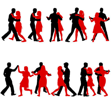 Conjunto negro siluetas bailando hombre y mujer sobre fondo blanco.