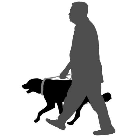 Silhouette of man and dog on a white background.