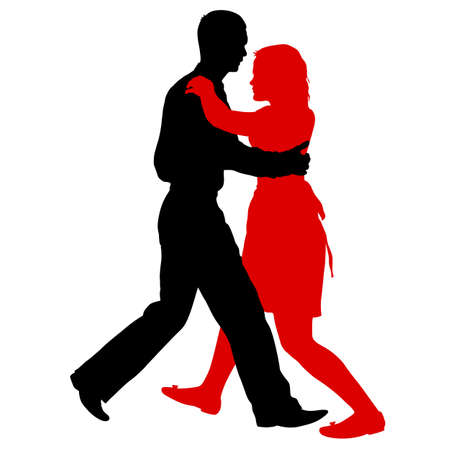Czarne sylwetki taniec mężczyzny i kobiety na białym tle.
