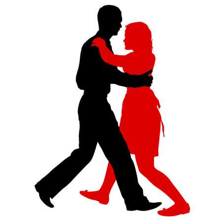 Zwarte silhouetten dansende man en vrouw op witte achtergrond.