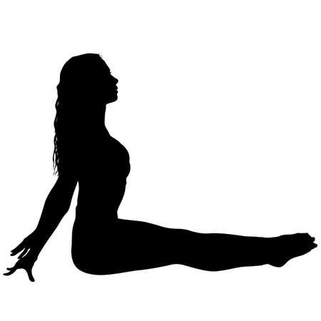 Fille de silhouette sur le cours de yoga en pose sur un fond blanc.
