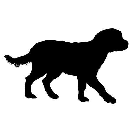 Labrador dog silhouette on a white background. Ilustración de vector