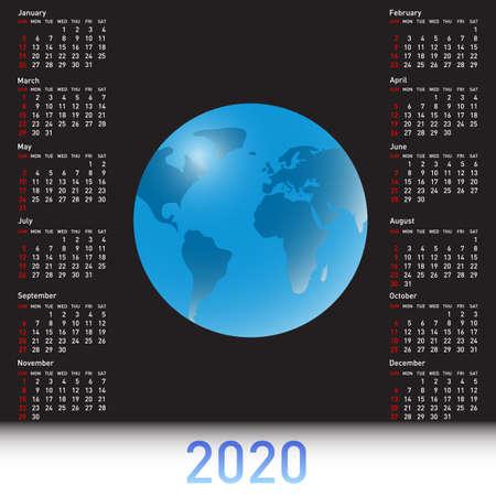 Calendar 2020 with a globe on the black sky.