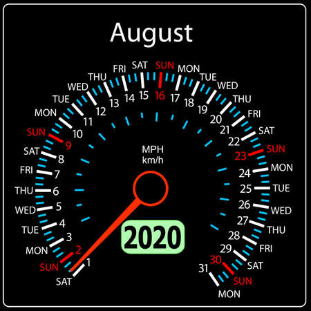 The 2020 year calendar speedometer a car August.