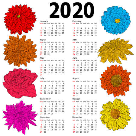 Stylish calendar with flowers for 2020. Week Sundays first.