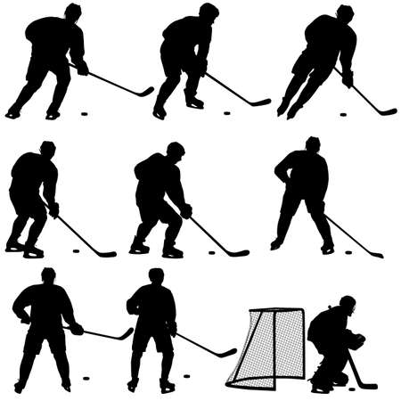 Set of silhouettes of hockey player Isolated on white.