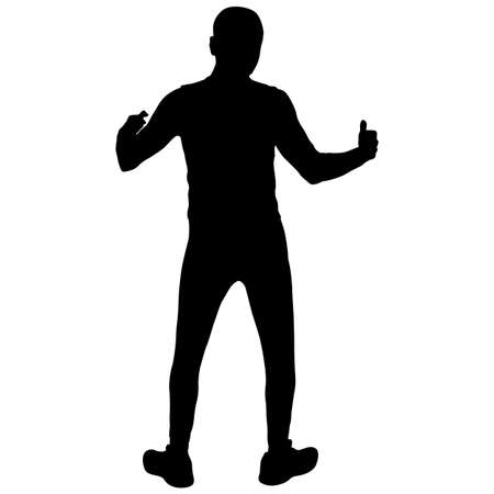 Black silhouettes man with arm raised on a white background.