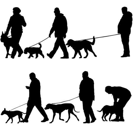 Set silhouette of woman man and dog on a white background.