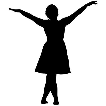Black silhouette woman standing, people on white background. Ilustracja