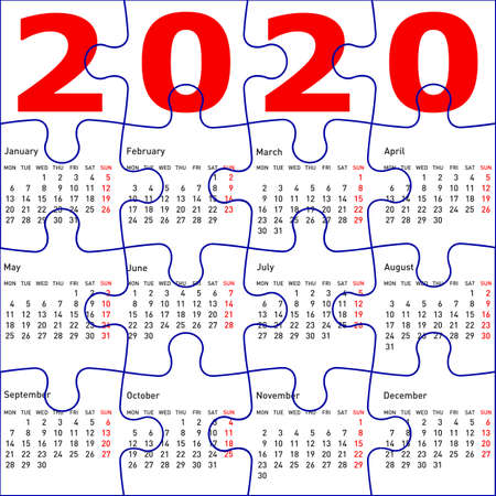 Calendar for 2020, jigsaw puzzle texture background.