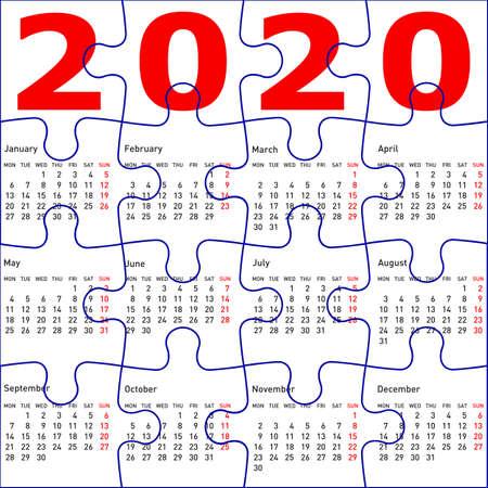 Calendario per il 2020, sfondo texture puzzle.