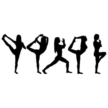 Set silhouette girl on yoga class in pose on a white background.