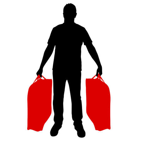 Silhouette of a man with a briefcase in hand, on a white background.