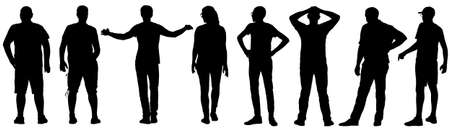 Silhouette Group of People Standing on White Background.