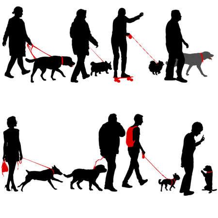 Définir la silhouette des personnes et du chien sur un fond blanc.