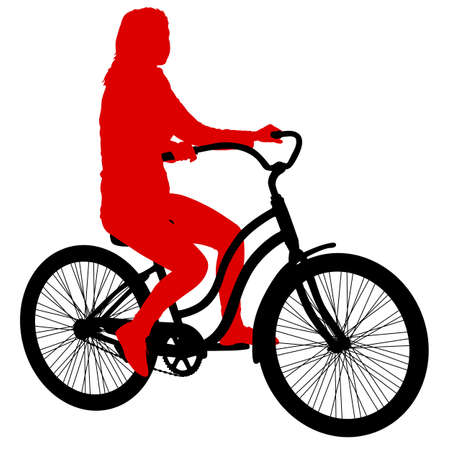Silhouette of a cyclist female on white background.
