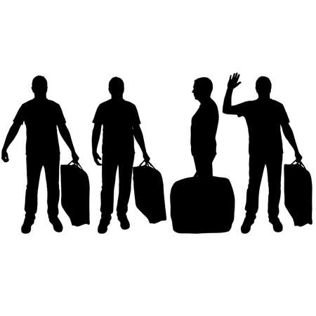 Set silhouette of a man with a briefcase in hand, on a white background.