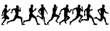 Set of silhouettes. Runners on sprint men.