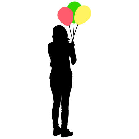 Silhouette of a girl with balloons in hand on a white background. Foto de archivo - 130351923