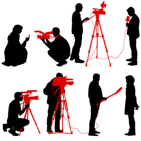 Set cameraman with video camera. Silhouettes on white background. Ilustração