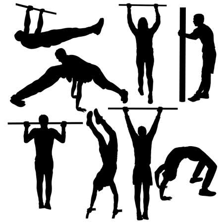 Set of acrobats in different stances silhouette on a white background.