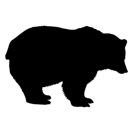 Silhouette brown bear on a white background.