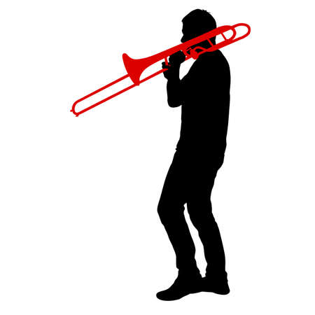 Silhouette of musician playing the trombone on a white background. Çizim