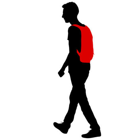 Black silhouette man standing, people on white background. Illustration