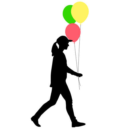 Silhouette of a girl with balloons in hand on a white background. Foto de archivo - 130351967