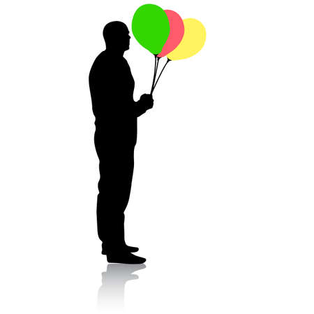 Silhouette of a men with balloons in hand on a white background. Foto de archivo - 130351968