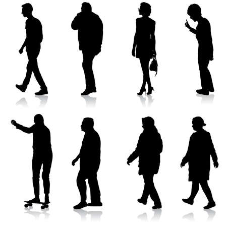 Black silhouette group of people standing in various poses.