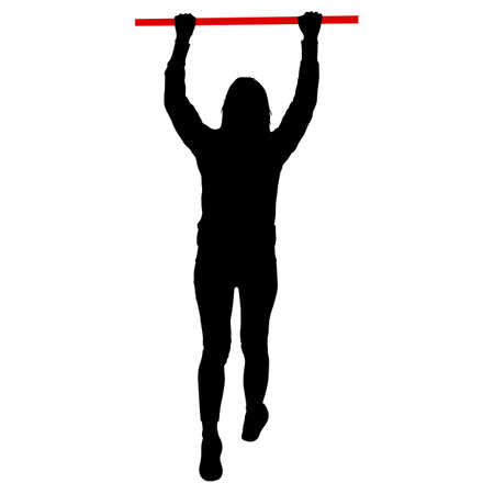 Woman doing pull-ups silhouette on a white background.