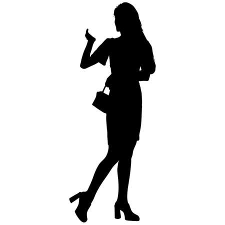 Black silhouettes woman with arm raised on a white background. 스톡 콘텐츠 - 130351992