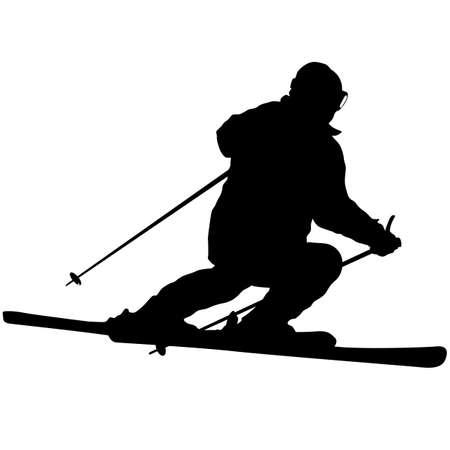 Skieur de montagne accélérant la silhouette de sport de pente. Vecteurs
