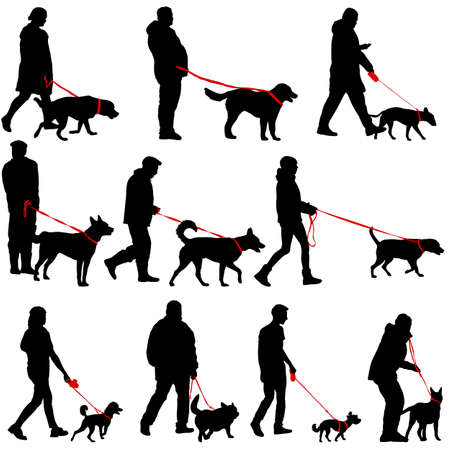 Set silhouette of people and dog on a white background. Illustration