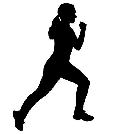 Black Silhouettes Runners sprint women on white background.